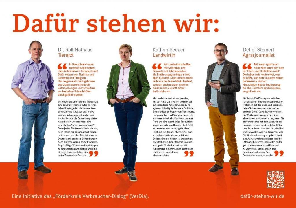 Landwirt, Tierarzt + Verbraucher im Diolog: Mit der Gegendarstellung in der ZEIT wird auch eine Homepage freigeschaltet. (Bild anklicken) (c) dafür-stehen-wir.de