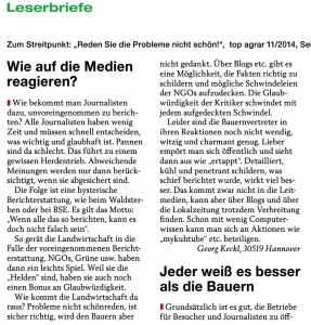 Leserbrief von Georg Keckl in top agrar 1/2015