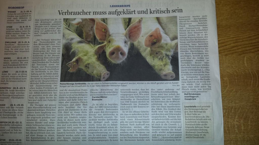 """Leserbriefe in der Rubrik """"Dialog"""" in der Neuen Osnabrücker Zeitung vom 7. januar 2015"""