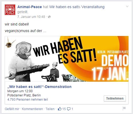 Snapshot vom Facebookauftritt von animal-Peace in 2015