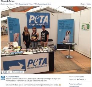Snapshot von der Facebookseite von PeTA