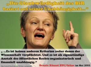 """Renate Künast im Mai 2003: """"...es ist keinen anderen Kriterien außer denen der Wissenschaft verpflichtet. Und es ist als eigenständige Anstalt des öffentlichen Rechts organisatorisch und finanziell unabhängig."""""""
