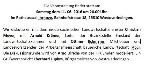 Diskussionsveranstaltung in Ostfriesland