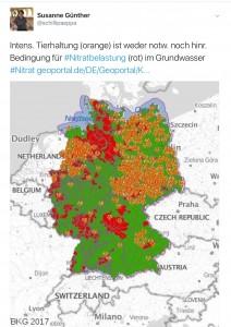 Nitratkarte: Zusammenhang Tierhaltung-Nitrat