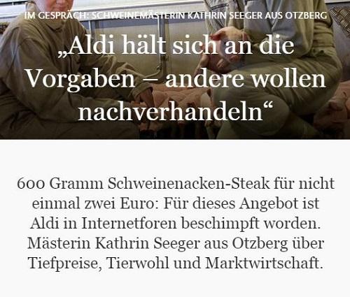 Interview von Thorsten Winter, FAZ, mit Schweinehalterin Kathrin Seeger