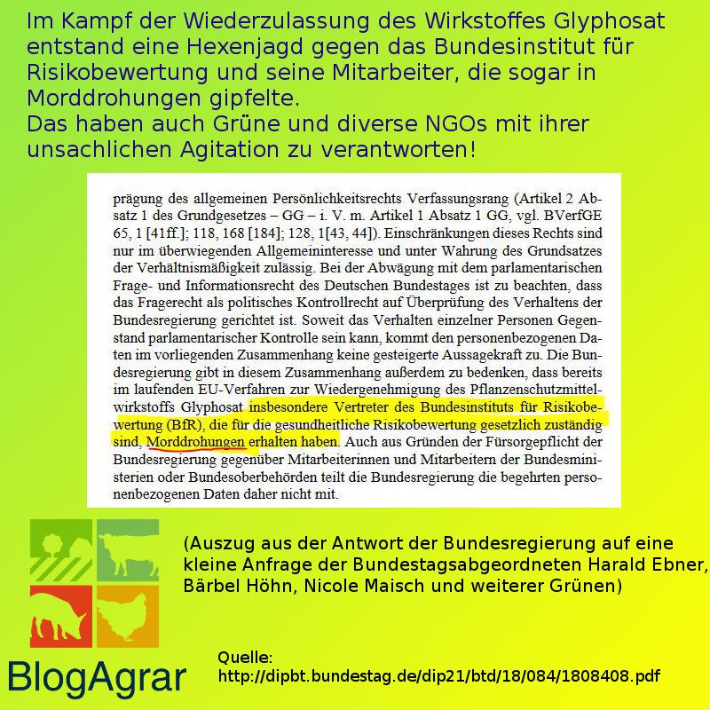 Auszug aus der Antwort der Bundesregierung auf eine kleine Anfrage der Bundestagsabgeordneten Harald Ebner, Bärbel Höhn, Nicole Maisch und weiterer Grünen