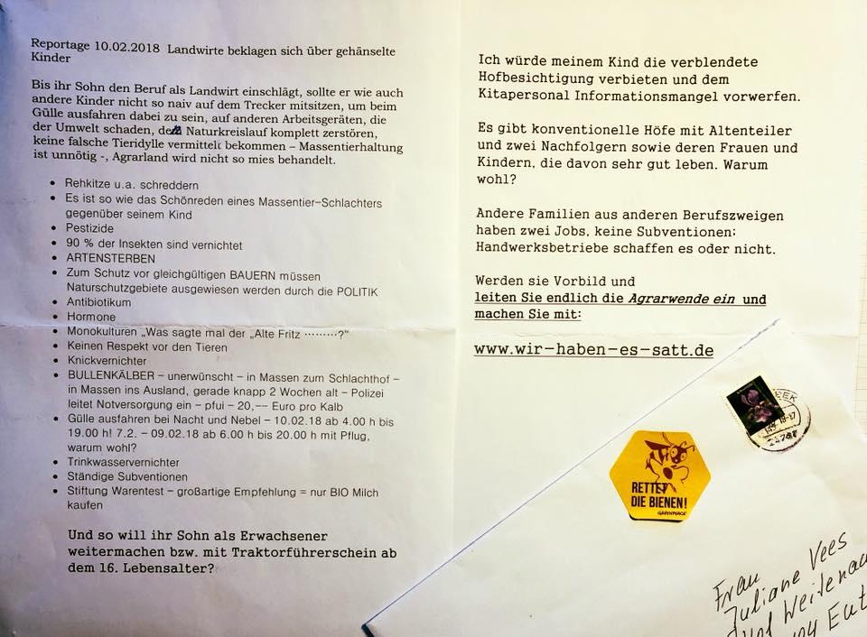 diesen Brief erhielt unter anderem Juliane Vees, Landfrau aus Baden-Württemberg