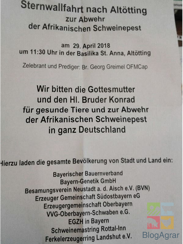 Einladung zur Sternwallfahrt nach Altötting zur Abwehr der Afrikanischen Schweinepest
