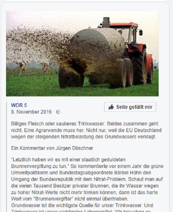 Bauernbashing von Jürgen Döschner, bezeichnet Bauern als Brunnenvergifter