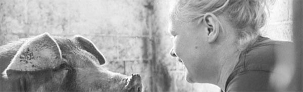 Nadine Henke und Schwein