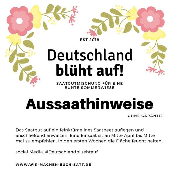 Etikett: Aussaathinweise für die Blühmischung, Deutschland blüht auf!