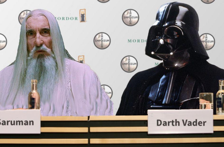 Sarum und Darth Vader auf Pressekonferenz