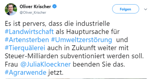 Oliver Krischer: Es ist pervers, dass die industrielle #Landwirtschaft als Hauptursache für #Artensterben #Umweltzerstörung und #Tierquälerei auch in Zukunft weiter mit Steuer-Milliarden subventioniert werden soll. Frau @JuliaKloeckner beenden Sie das. #Agrarwende jetzt.