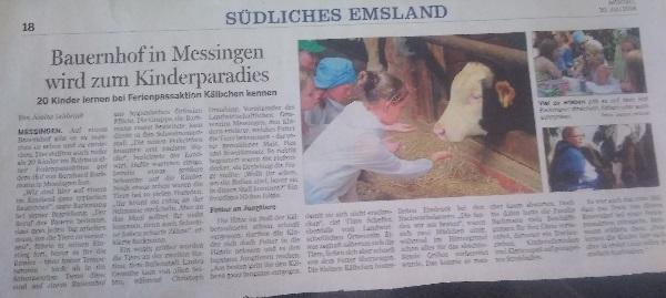 Bauernhof in Messingen wird zum Kinderparadies. 20 Kinder lernen bei Ferienpassaktion Kälbchen kennen