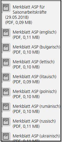 Screenshot: verfügbare Sprachen der Merkblätter
