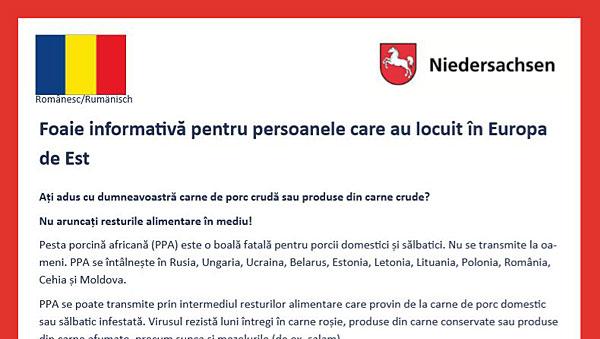 ASP-Merkblatt auf Rumänisch