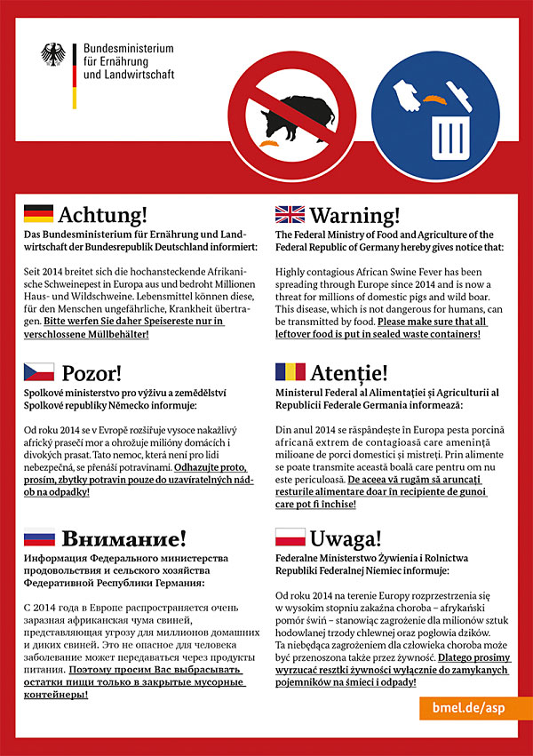 Bild Merkblatt mit Hinweise in verschiedenen sprachen