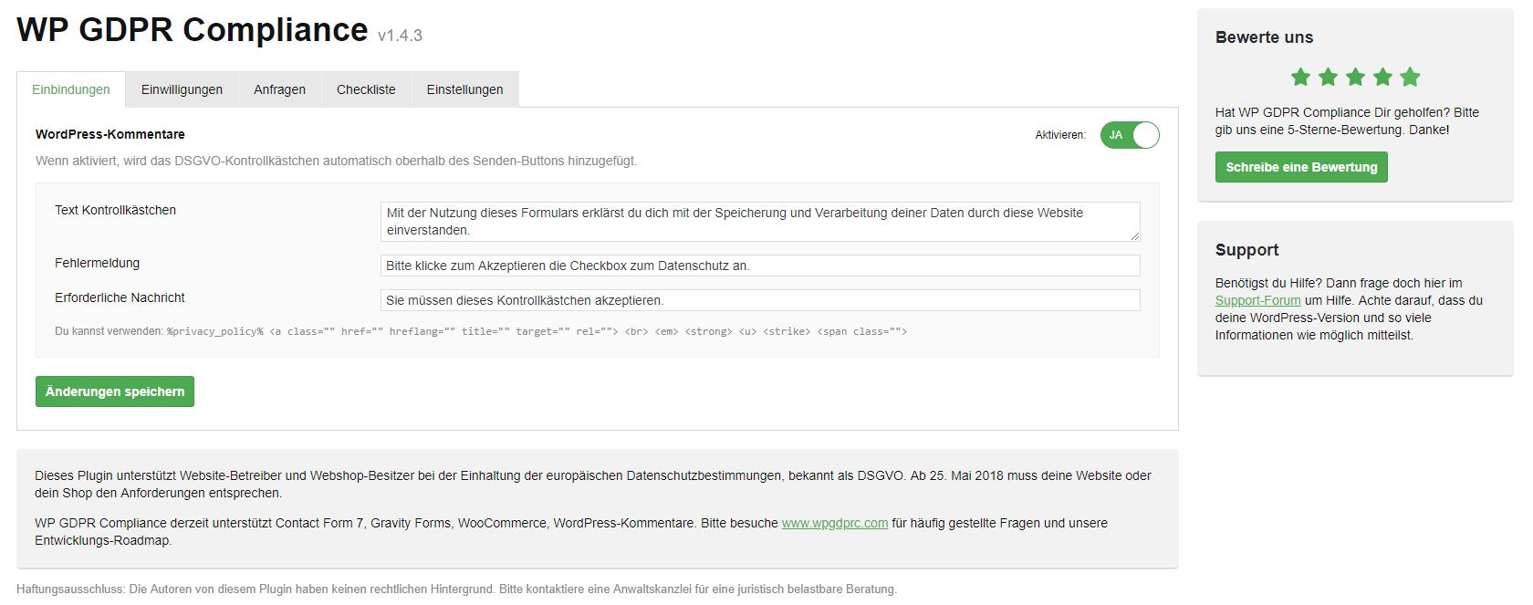 Snapshot der WP GDPR- Plugin-Seite