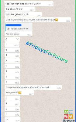 Auszug aus WhatsApp. Schüler fragt nach Erlaubnis, zur Demo gehen zu dürfen. Nicht sehr überzeugend... ;)