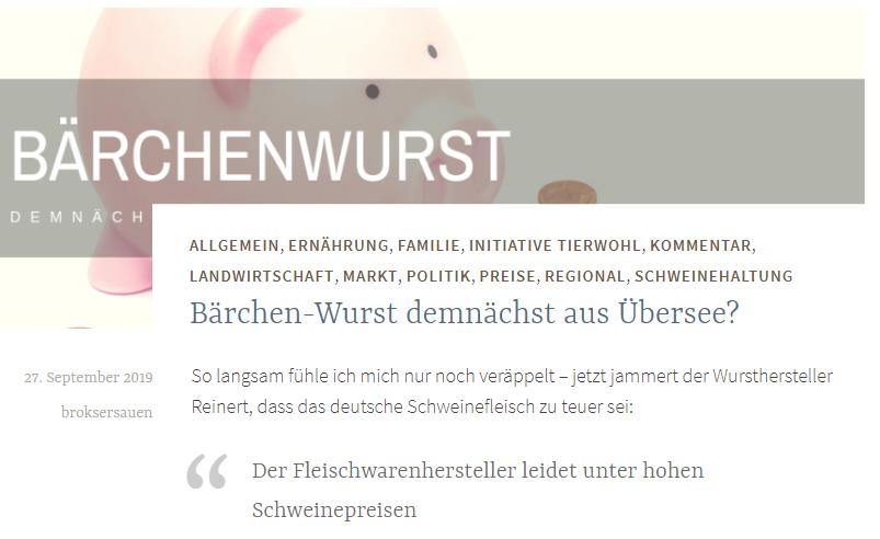 Bärchen-Wurst demnächst aus Übersee?  So langsam fühle ich mich nur noch veräppelt – jetzt jammert der Wursthersteller Reinert, dass das deutsche Schweinefleisch zu teuer sei:  Der Fleischwarenhersteller leidet unter hohen Schweinepreisen  schreibt das Haller Kreisblatt.  Die Schweinepreise seien um 40% gestiegen und die Branche hat mit der Rohstoffknappheit zu kämpfen.