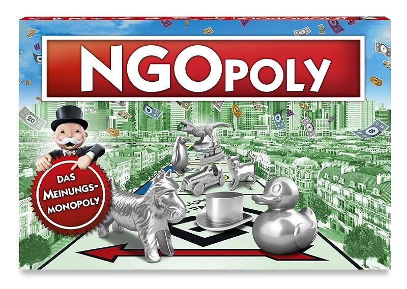 """Spielschachtel mit der Aufschrift: """"NGOpoly- Das Meinungsmonopoly"""""""