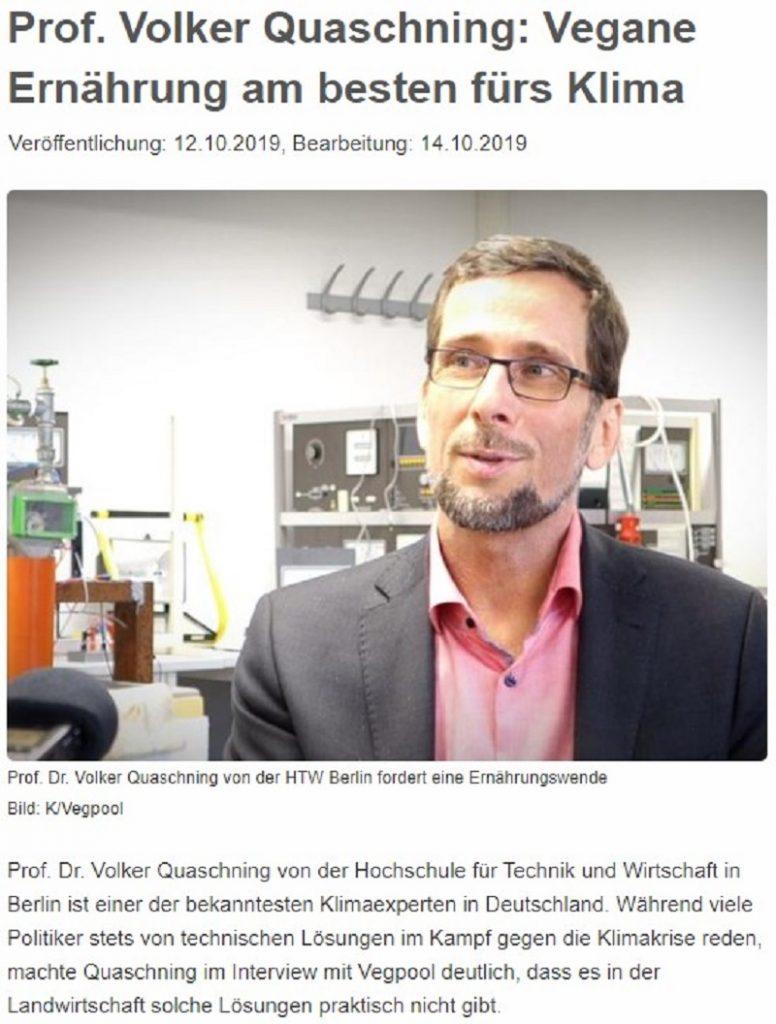 Prof. Volker Quaschning: Vegane Ernährung am besten fürs Klima