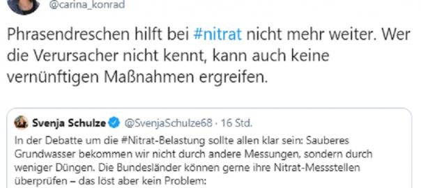 """Carina Konrad: """"Phrasendreschen hilft bei #nitrat nicht mehr weiter. Wer die Verursacher nicht kennt, kann auch keine vernünftigen Maßnahmen ergreifen."""""""