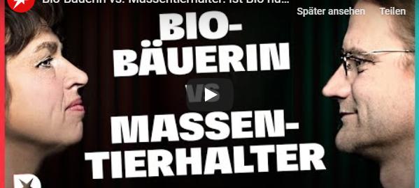 """Grafik zur Diskussion """"Bio-Bäuerin gegen Massentierhalter"""""""