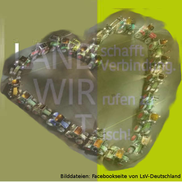 Logo von LandschafftVerbindung (LsV) mit einem Herz, geformt aus Traktoren