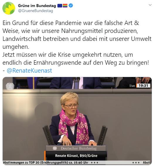 """Renate Künast im Bundestag: """"Ein Grund für diese Pandemie war die falsche Art & Weise, wie wir unsere Nahrungsmittel produzieren, Landwirtschaft betreiben und dabei mit unserer Umwelt umgehen. Jetzt müssen wir die Krise umgekehrt nutzen, um endlich die Ernährungswende auf den Weg zu bringen! """""""