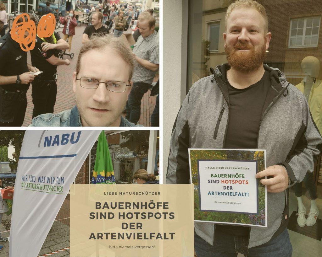 """Collage mit Bildern vom 25. Juli in der Lingener Innenstadt, wo NABU und Grüne Unterschriften gesammelt haben und Bauern die Bürder aufgeklärt haben, was das für Auswirkungen haben würde. Schilder mit der Aufschrift: """"Hallo liebe Naturschützer. Bauernhöfe sind Hotspots der Artenvielfalt. Bitte niemals vergessen!"""""""