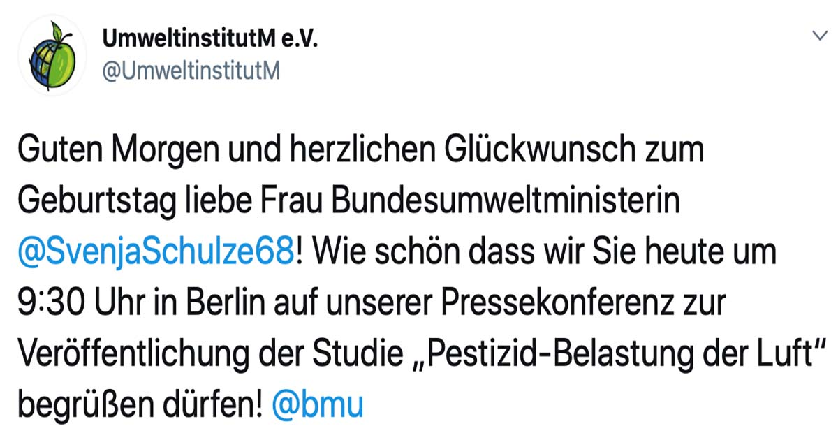 Guten Morgen liebe Frau Bundesumweltministerin Svenja Schulze