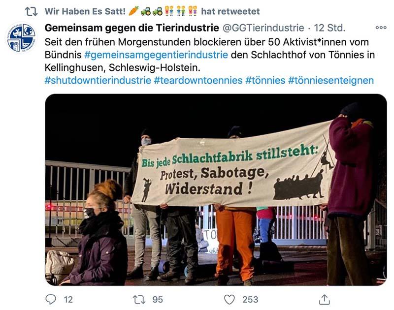 Wir haben es satt rettetet einen Tweet der Tierrechtler über die Blockadeaktion in Kellinghusen